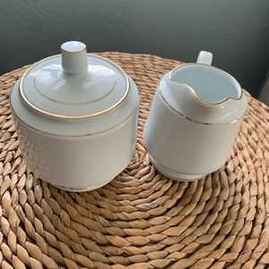 Vintage Kitchen - Vintage Sugar Creamer Set White Fine China